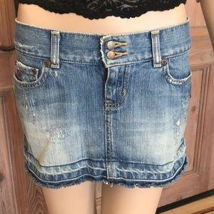 A&F distressed mini skirt